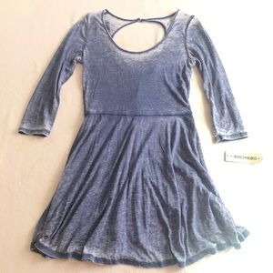 Inspired Hearts Blue 3/4 sleeve dress cut out back
